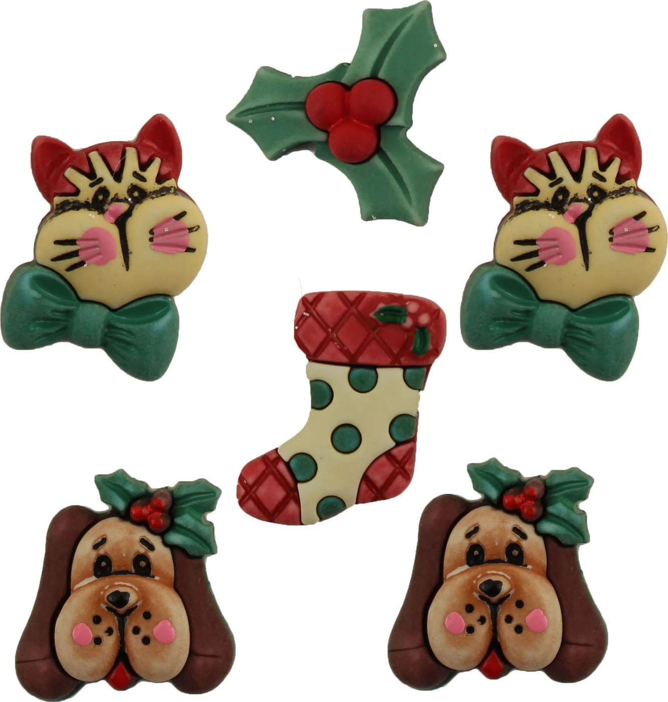 Пуговицы Buttons Galore пластиковые декоративные Holiday Pets