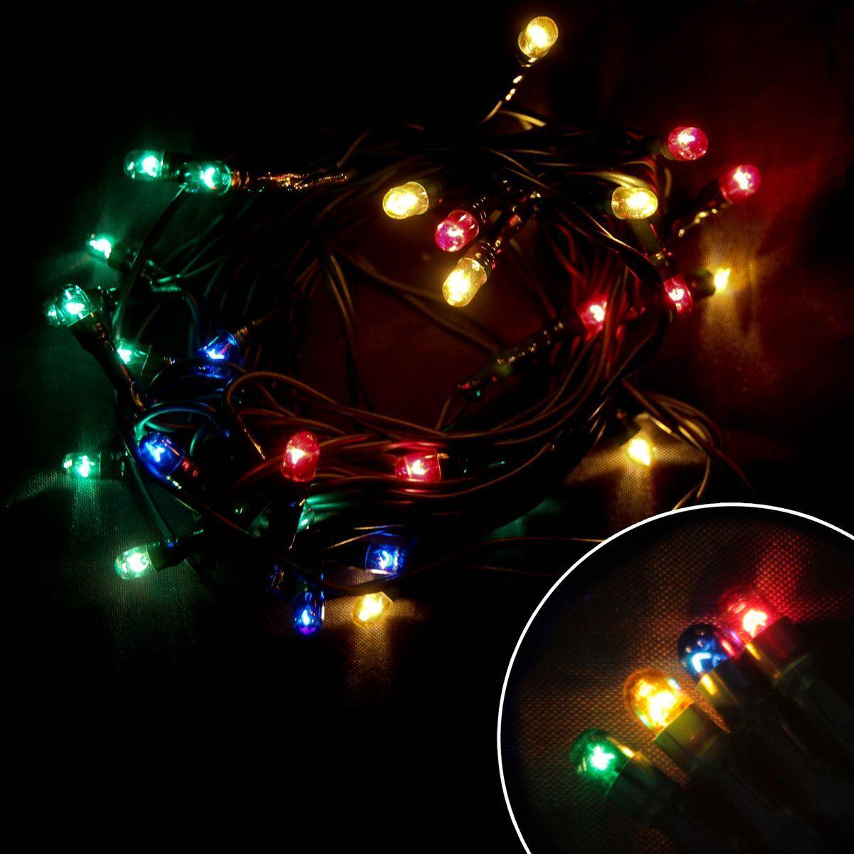 Электрическая гирлянда Волшебная страна PR/R-30-3-MC, многоцветная, 30 ламп, без мигания, зеленый шнур, 3 м