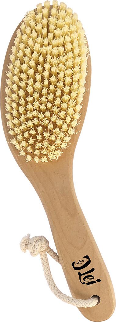 Массажная щетка Lei для сухого массажа, искусственная щетина на короткой ручке, с покрытием LEI