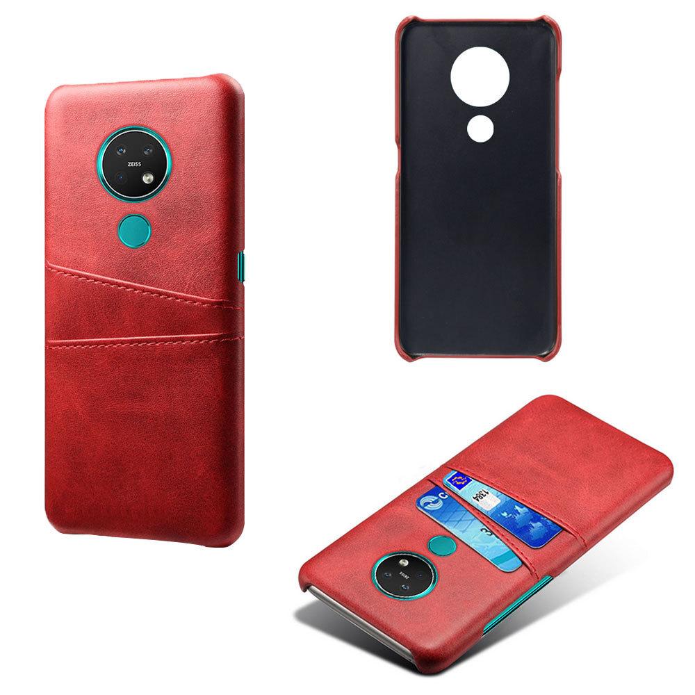 Чехол панель-накладка MyPads для Nokia 7.2/ Nokia 6.2 из качественной импортной кожи с визитницей с отделением для банковских карт мужской женский красный