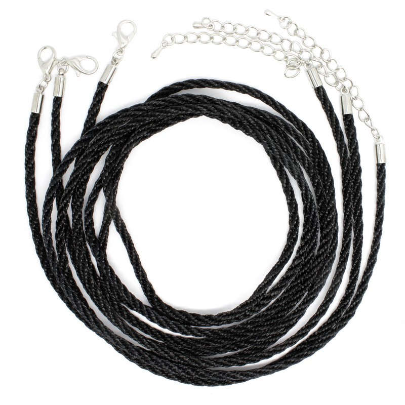 Шнурок для бижутерии, витой нейлоновый, длина 73 см, диаметр 2.5 мм, 3 шт