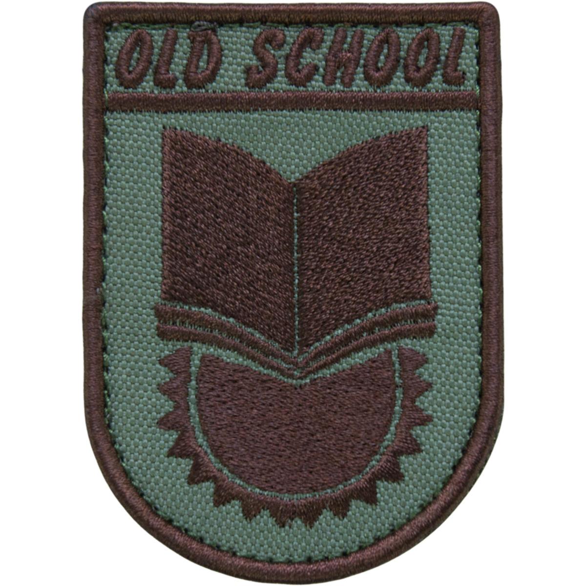 """Нашивка (шеврон патч patch)  """"OLD SCHOOL""""  тактическая вышитая на липуче 8х5,5 коричневая"""
