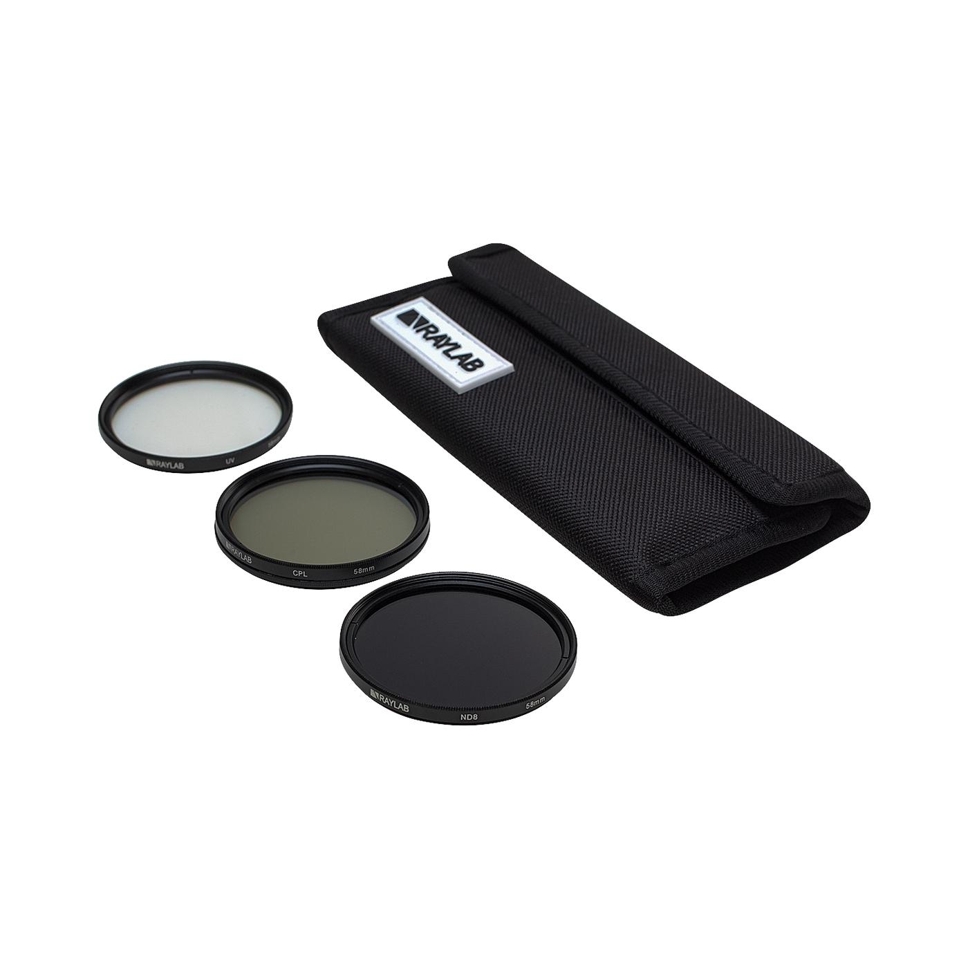Набор из 3 фильтров RayLab (UV,CPL,ND8) 58mm