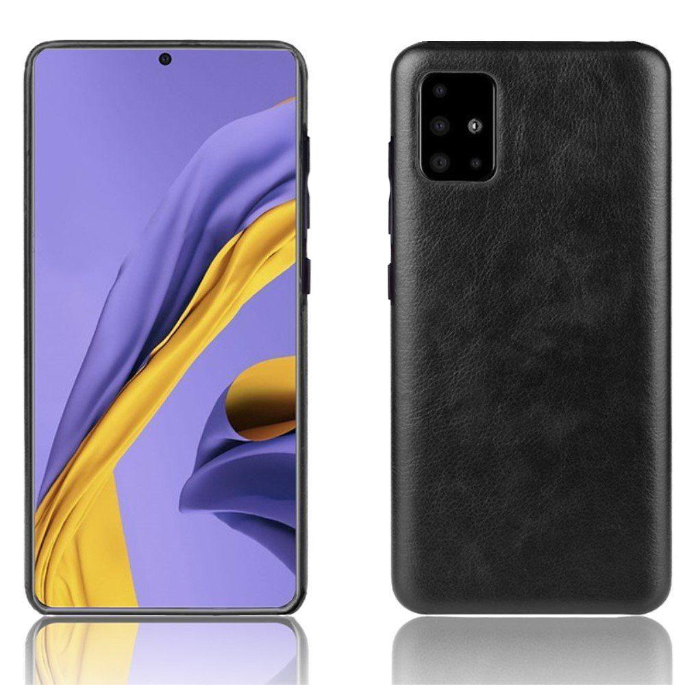 """Cиликоновый чехол """"Fortuna''-2 (эко-кожа + силикон) для Samsung Galaxy A71, черный"""