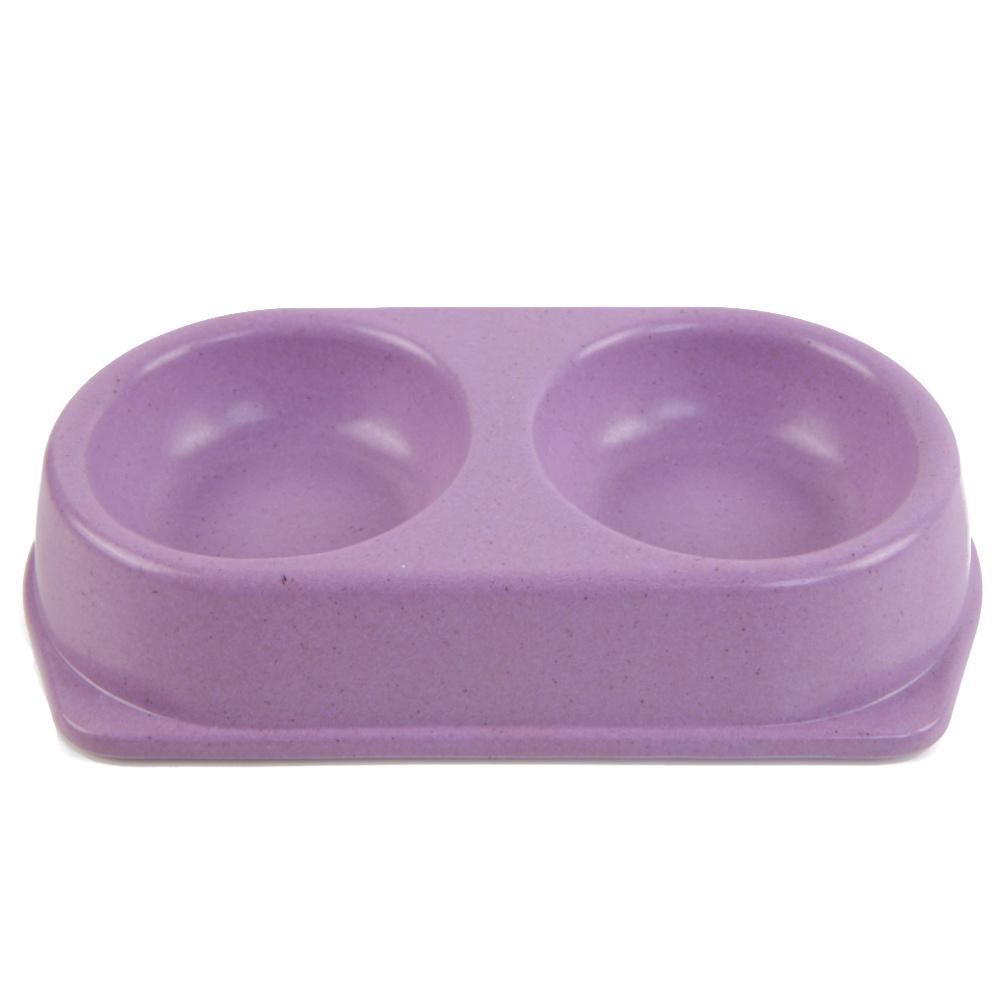 Миска двойная для домашних животных, размер: 24.7x13.5x4.7 см, цвет: фиолетовый  #1