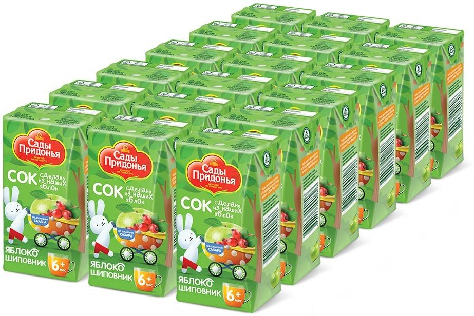 Сок из яблок и шиповника осветленный восстановленный с 6 месяцев Сады Придонья, 18 шт по 0,125 л  #1