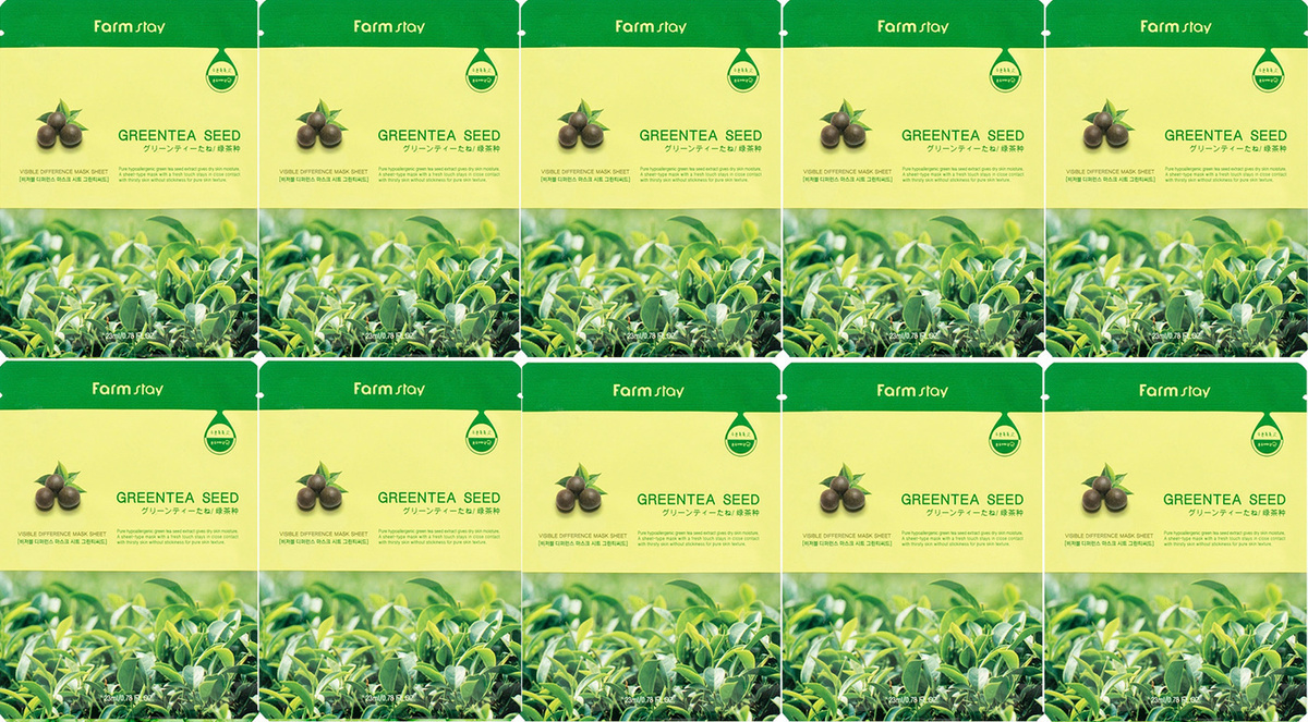 FARMSTAY Маска для Лица с Зеленым Чаем MASK SHEET GREENTEA 23 мл - 10 шт #1