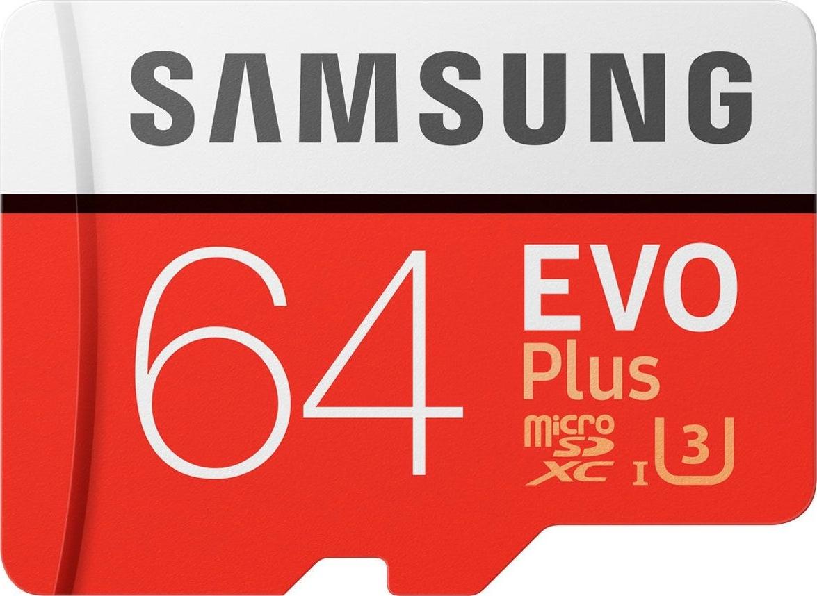 Флеш карта microSD 64GB SAMSUNG EVO PLUS microSDXC Class 10, UHS-I, U3 (SD адаптер) 60MB/s,100MB/s недорого