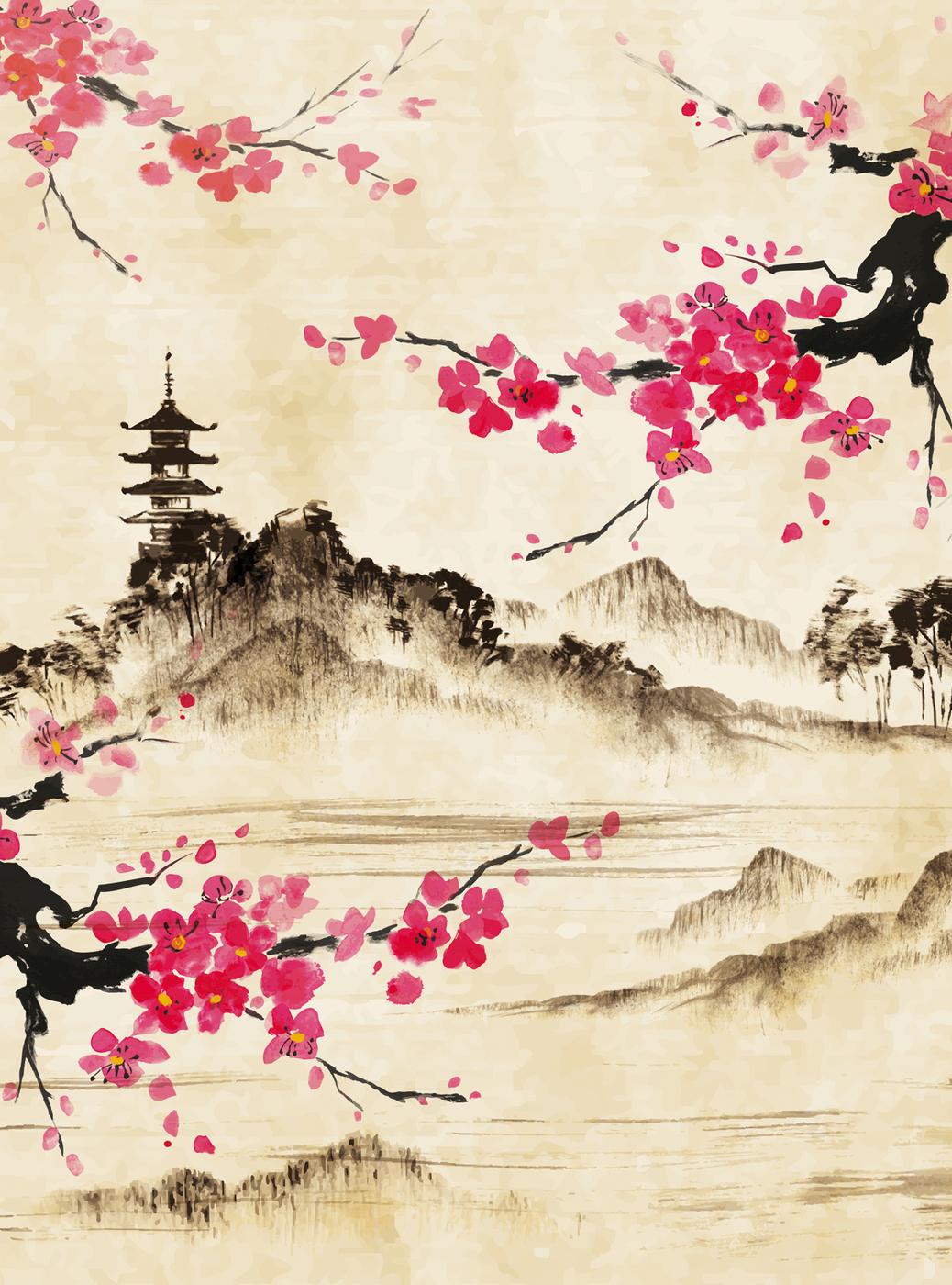 Японский стиль открытки, днем