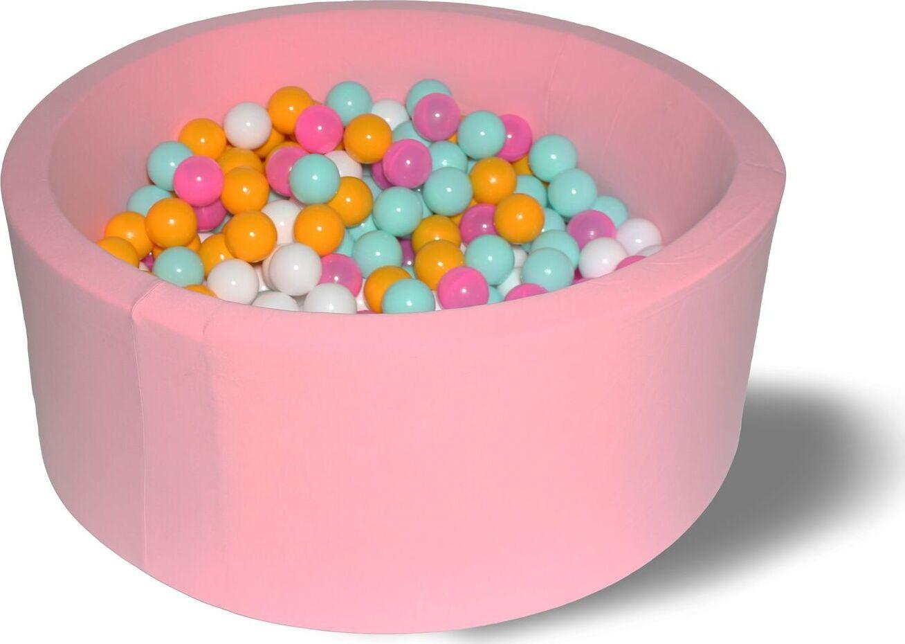 Сухой бассейн Розовый цветок Лайт серия выс. h33см с 200 шариками: розовый, белый, желтый, мятный