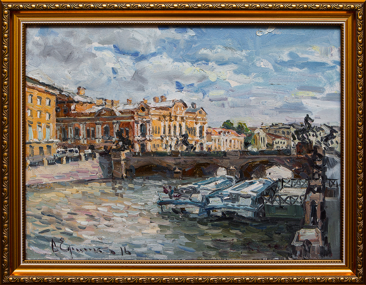 Картина маслом Вид на Аничков мост Ефименко картина маслом вид на петропавловскую крепость ефименко