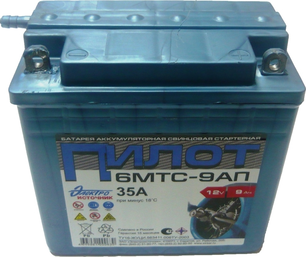 Аккумуляторная батарея 6МТС-9-АП (12 В; 9 А*ч) для генераторов Huter (64/1/23)