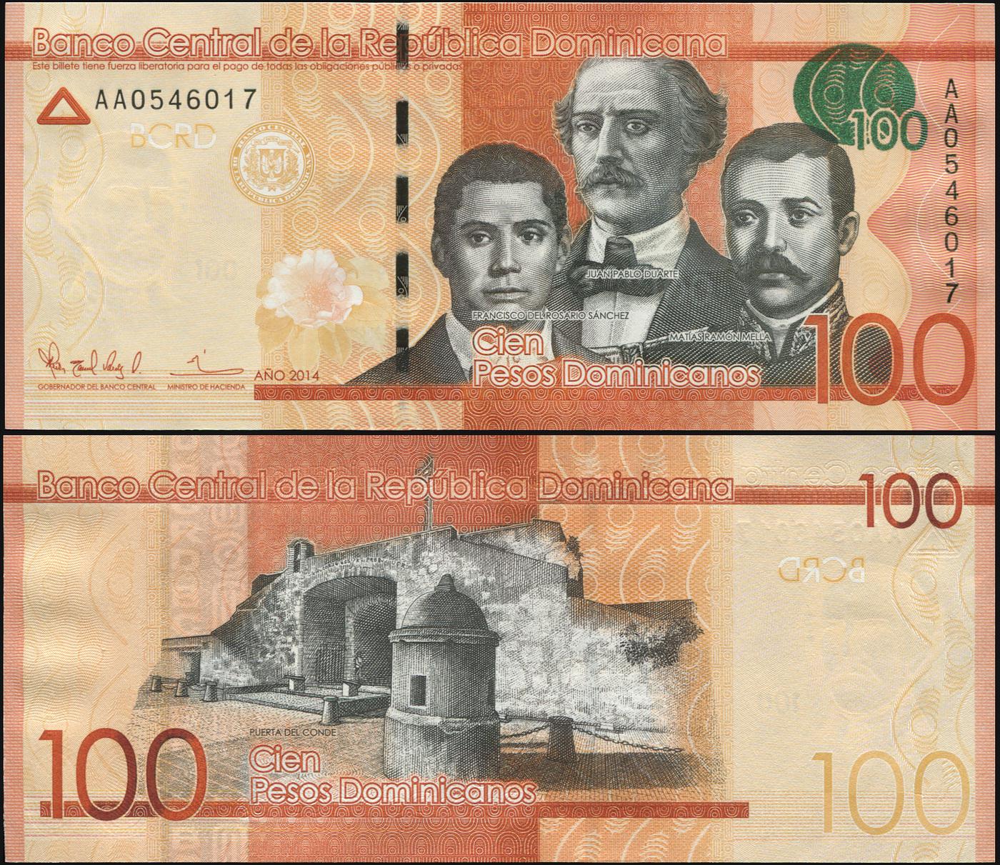 Банкнота. Доминиканская республика 100 песо доминикано. 2014 UNC. Кат.P.190a