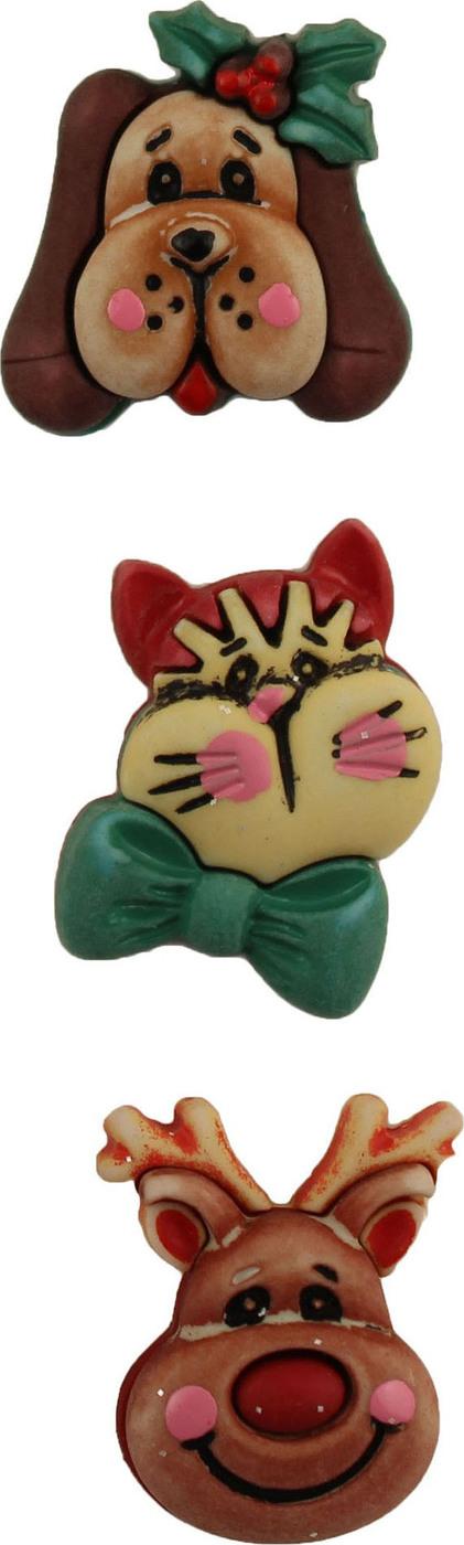 Пуговицы Buttons Galore пластиковые декоративные Santas Pets