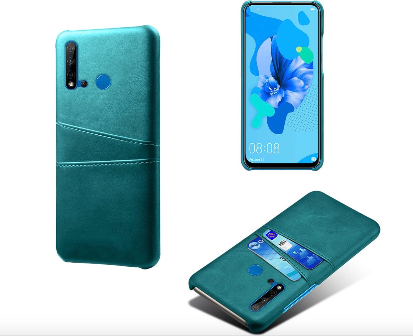 Чехол панель-накладка MyPads для Huawei Y5 2019/Huawei Honor 8S из качественной импортной кожи с визитницей с отделением для банковских карт мужской женский зеленый