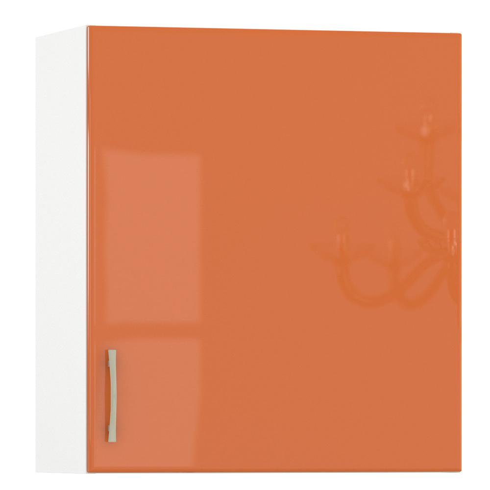 Кухня Сандра манго глянец/белый Шкаф навесной 600 1 дверь, ШхГхВ 60х32х68 см., универсальная дверь, можно сушку установить
