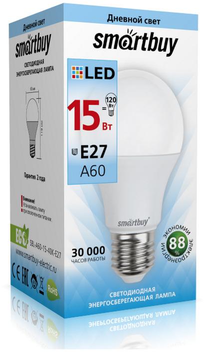 Лампочка SmartBuy SBL-A60-15-40K-E27, Дневной свет 15 Вт, Светодиодная