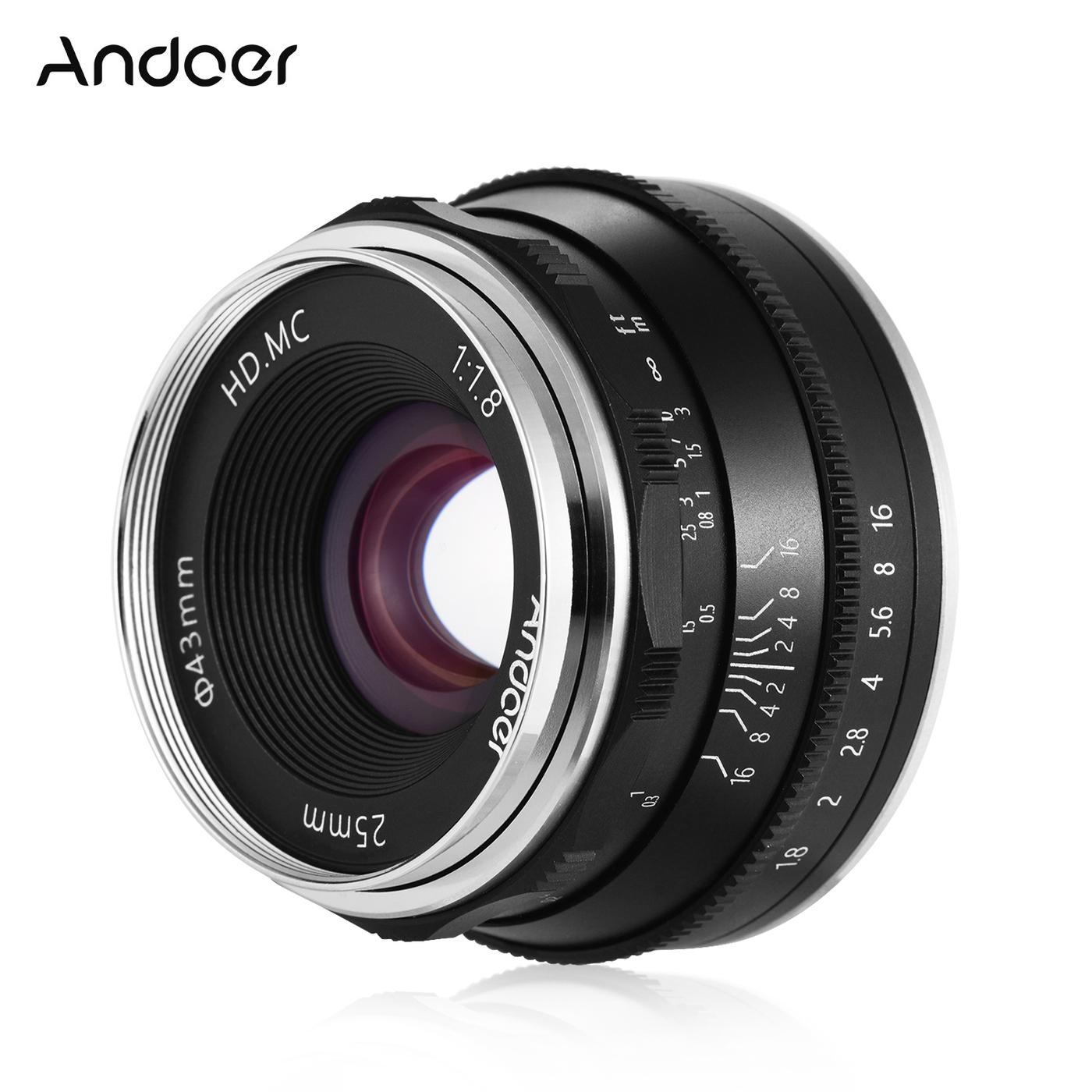 Andoer 25 мм F1.8 Объектив с ручной фокусировкой Объектив с