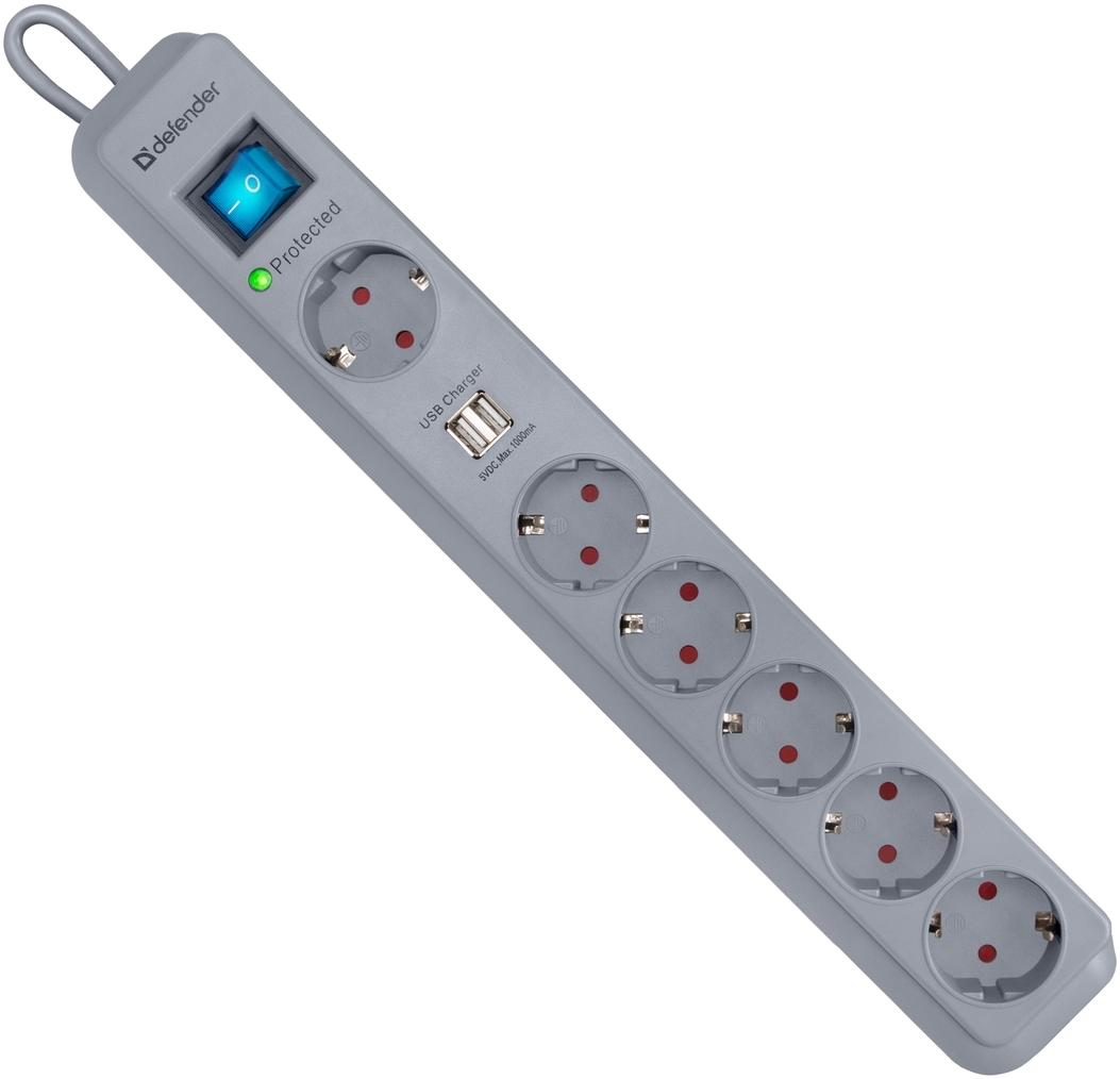 Сетевой фильтр Defender DFS 501 2,0м, 2 USB-порта, 6 розеток (99051)