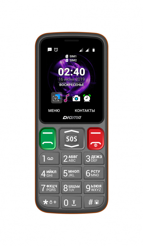 мобильный телефон digma linx s240, серый