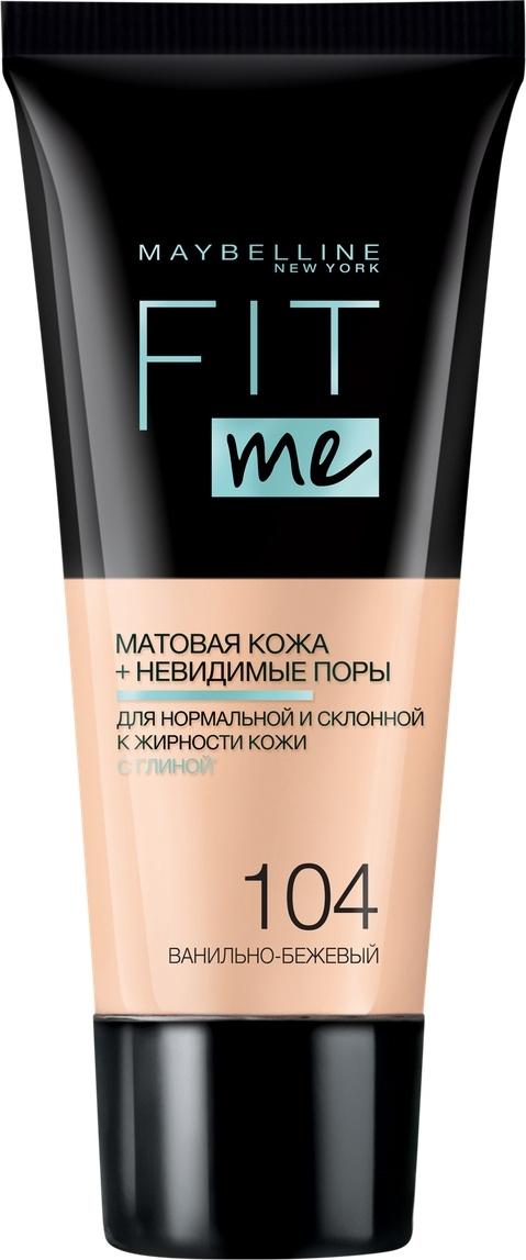 """Maybelline New York Тональный крем для лица """"Fit Me"""", матирующий, скрывающий поры, Оттенок 104, Ванильно-Бежевый #1"""