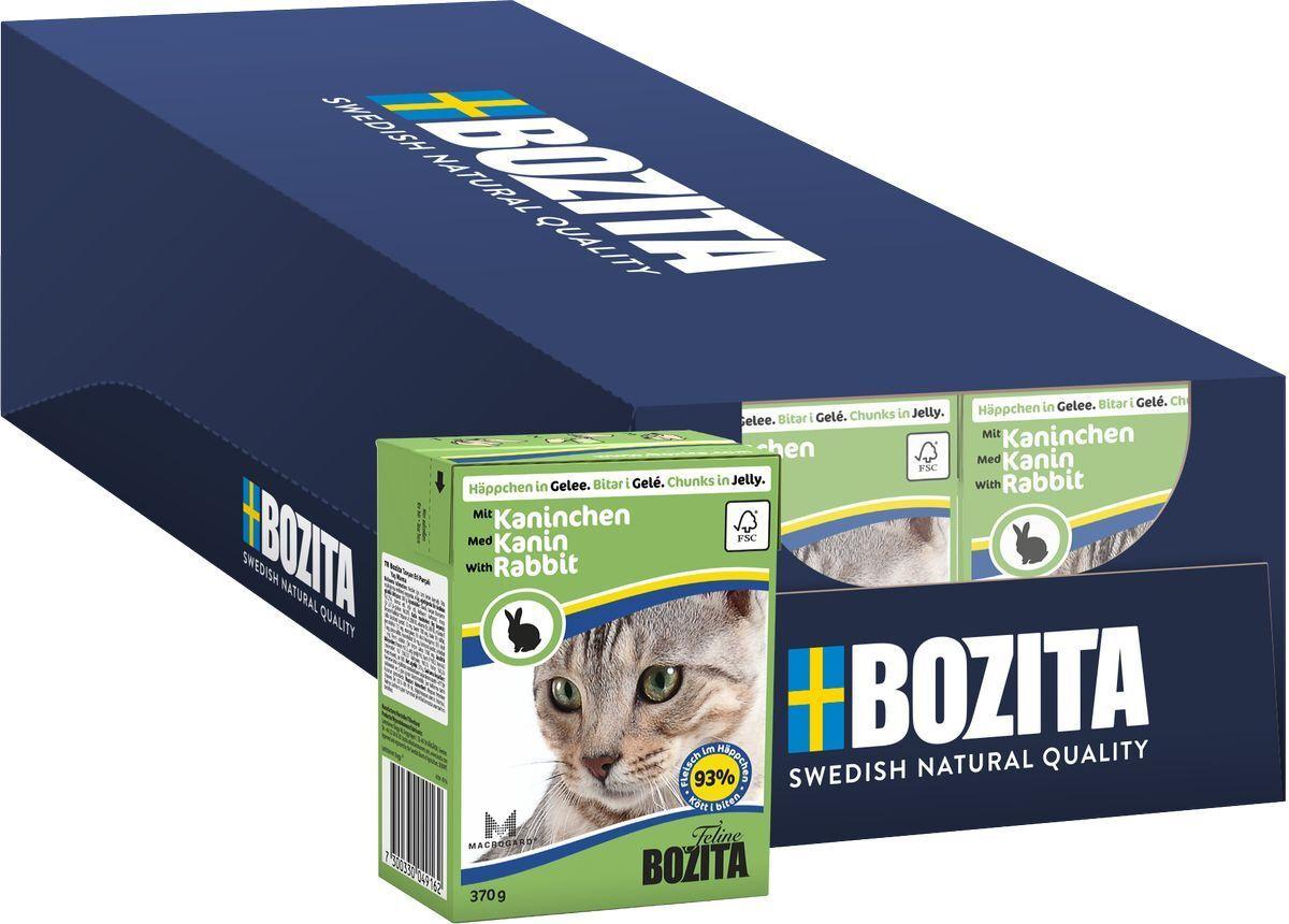 Корм консервированный Bozita Feline Rabbit, для кошек, с кроликом, кусочки в желе, 16 шт по 370 г  #1