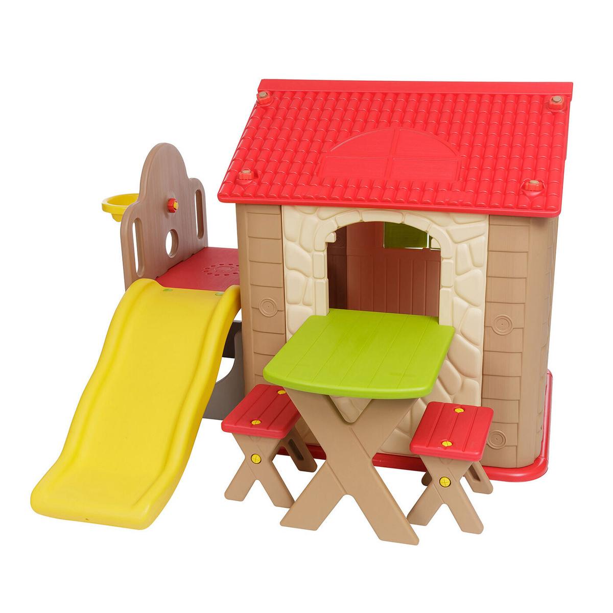 Haenim Toy HN-777 (Brown+Red) Детский игровой комплекс для дома и улицы: игровой домик, игровой столик, #1