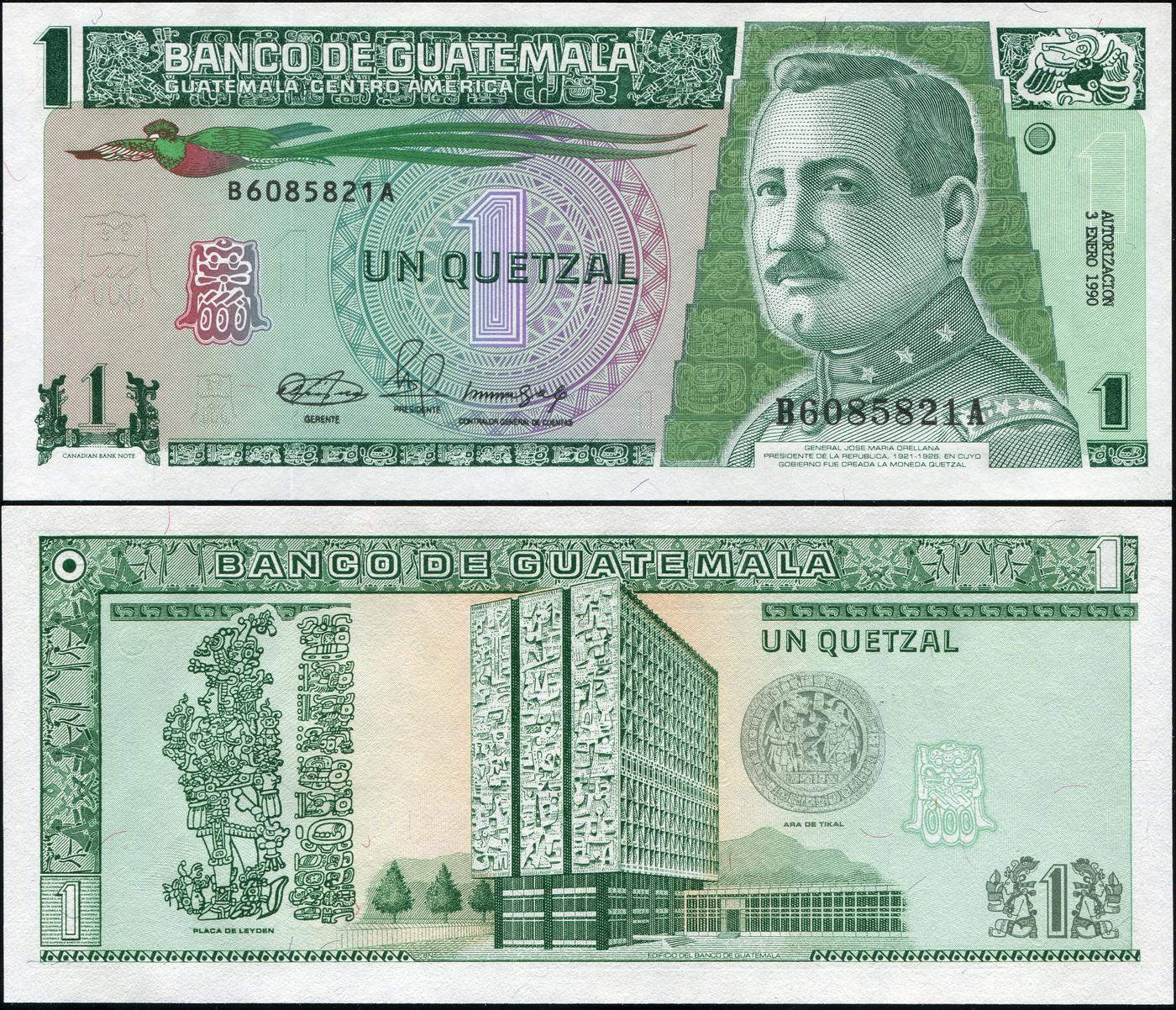 Банкнота. Гватемала 1 кетцаль. 03.01.1990 UNC. Кат.P.73a купюра 5 кетцаль гватемала 2008 год