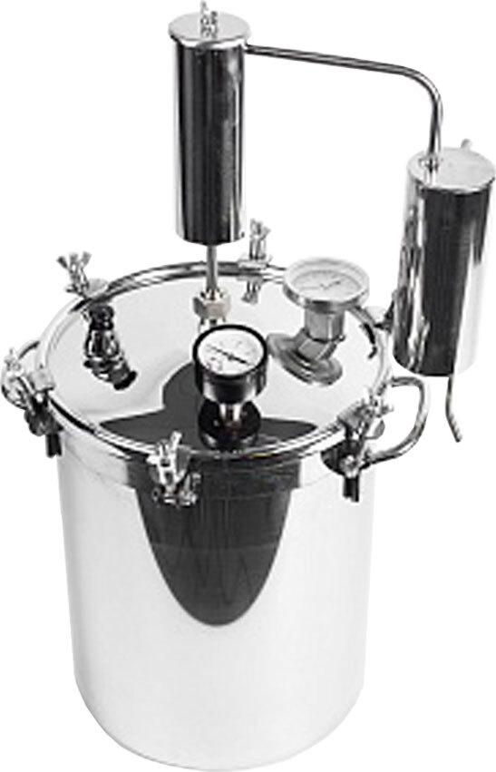 Автоклав-стерилизатор КОНСЕРВАТОР 2в1, 14л нерж, манометр, термометр, клапан сброса изб. Давления + надстройка Классик-Аромат для самогоноварения
