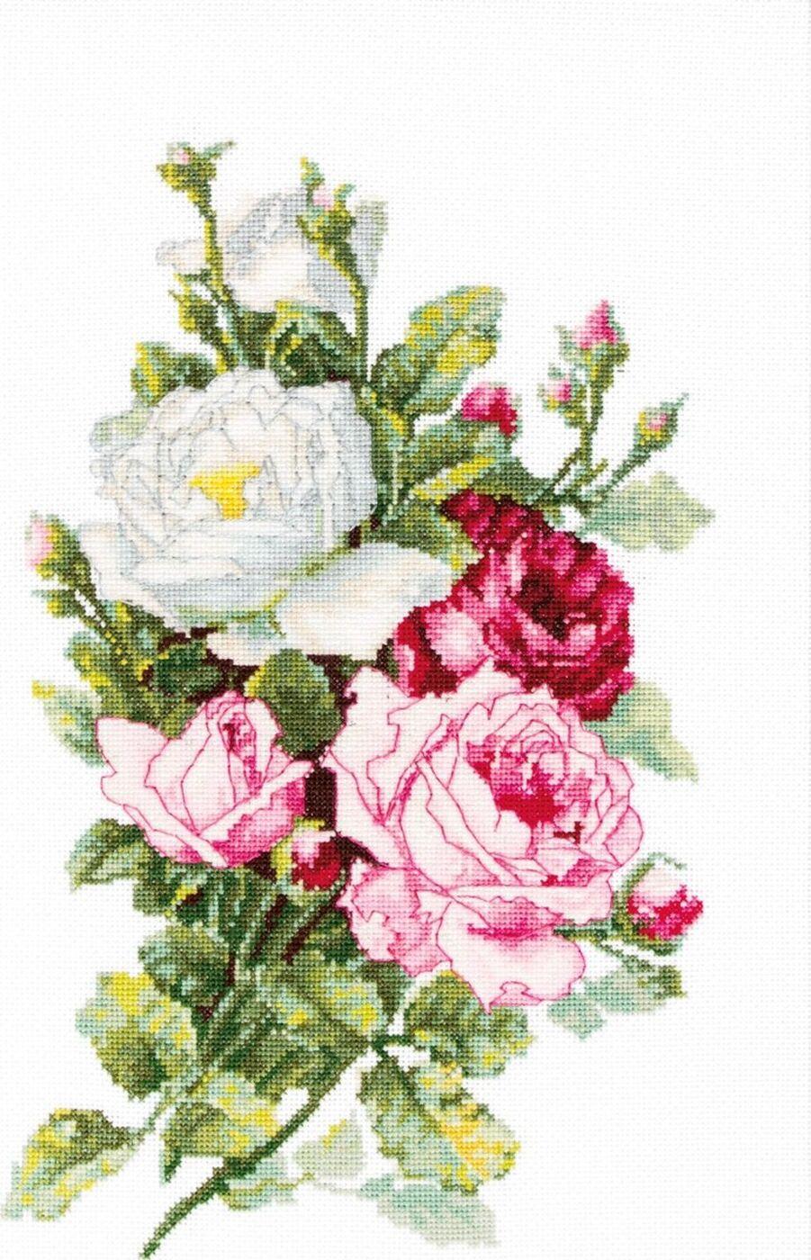 """Набор для вышивания крестом Luca-S """"Букет из роз"""", 13,5 х 21,5 см"""