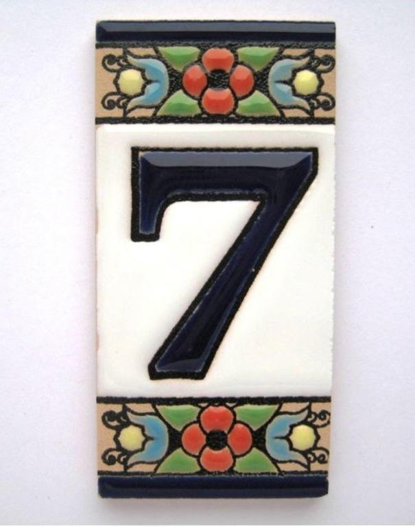 """Номерок на дверь керамический малый 3.75 х 7 см  """"7"""""""
