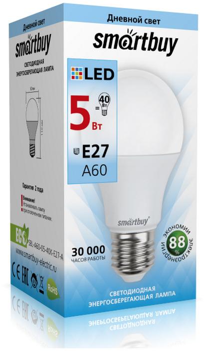 Лампочка SmartBuy SBL-A60-05-40K-E27-A, Дневной свет 5 Вт, Светодиодная