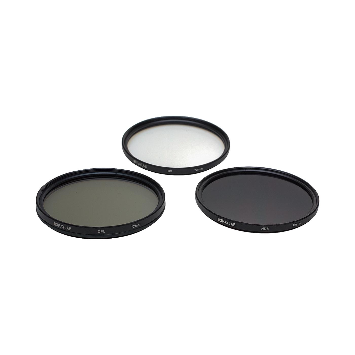 Набор из 3 фильтров RayLab (UV,CPL,ND8) 72mm