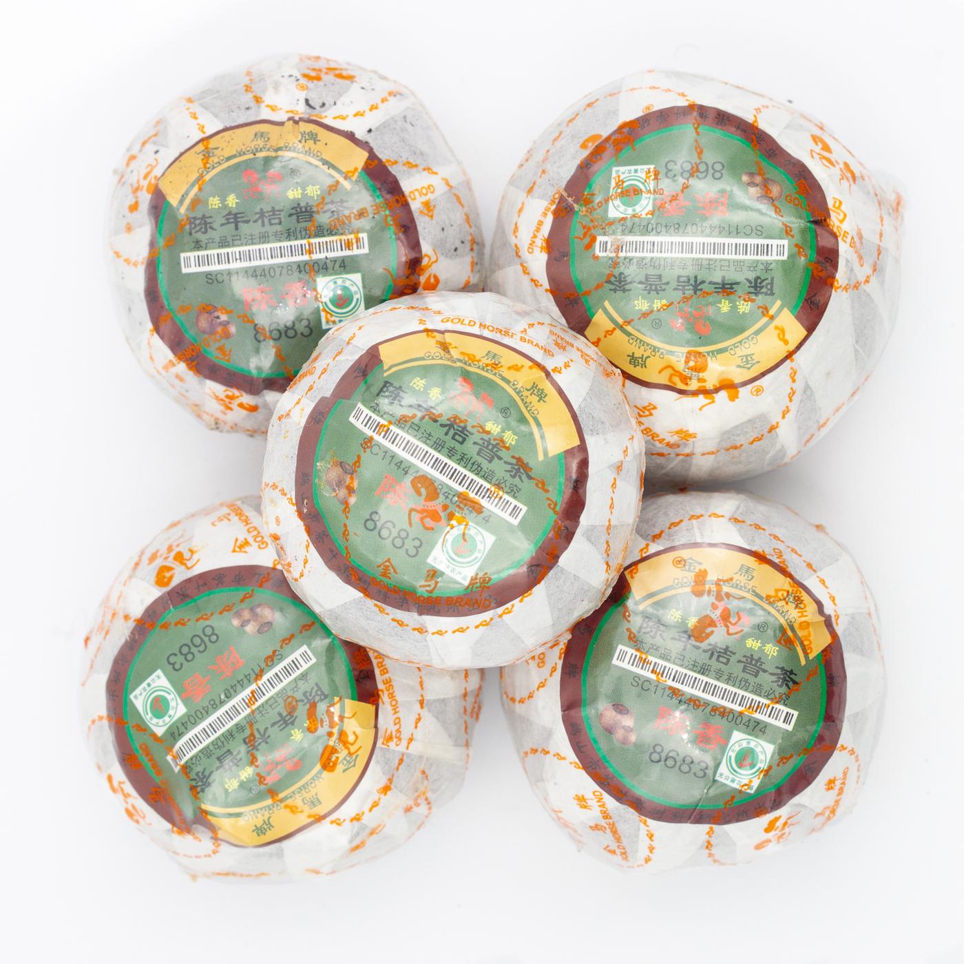 Шу Пуэр в большом мандарине, Белая Обезьяна, 5шт.
