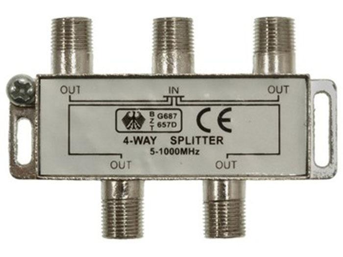 Сплиттер разветлитель, делитель TV сигнала эфирный 1*4 на четыре телевизора 5-1000Hz
