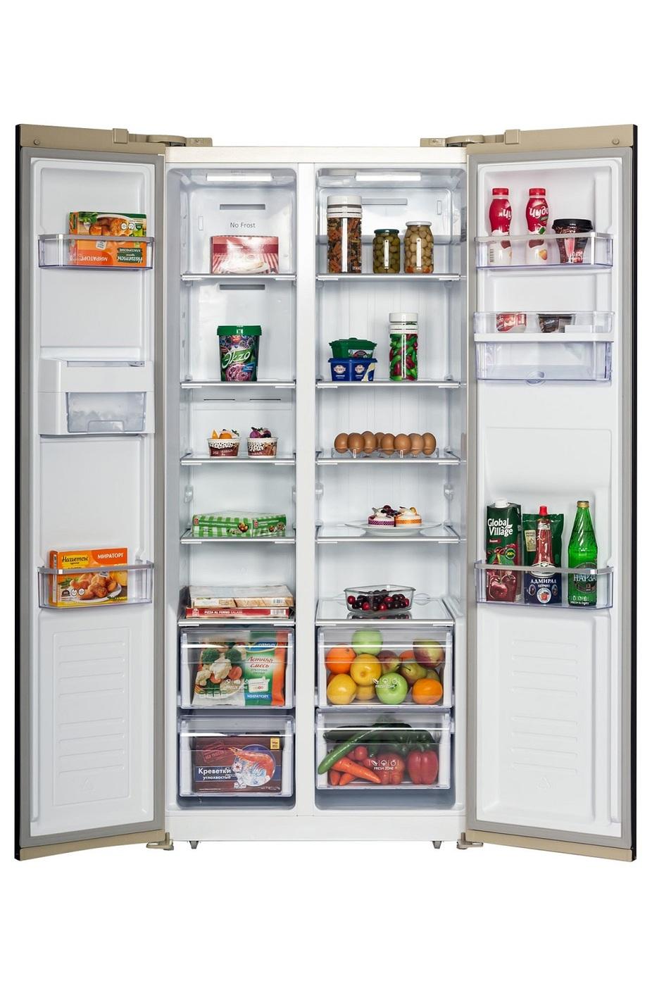 Холодильник Hiberg RFS-484DX NFY, бежевый
