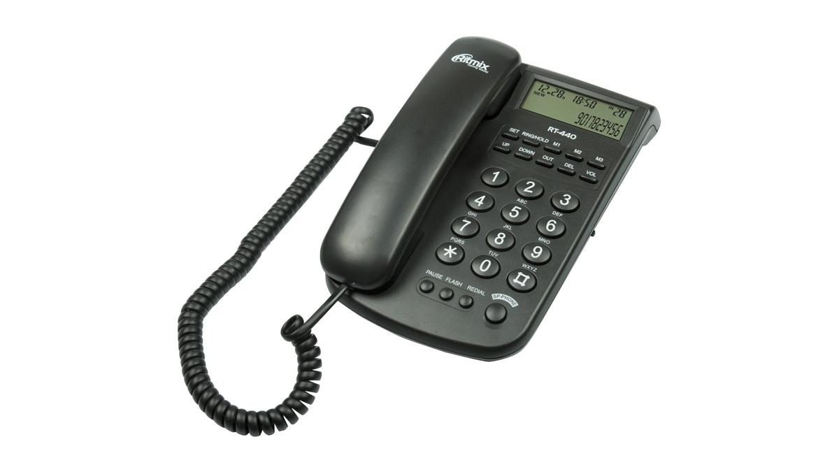 проводной телефон ritmix rt-440 black