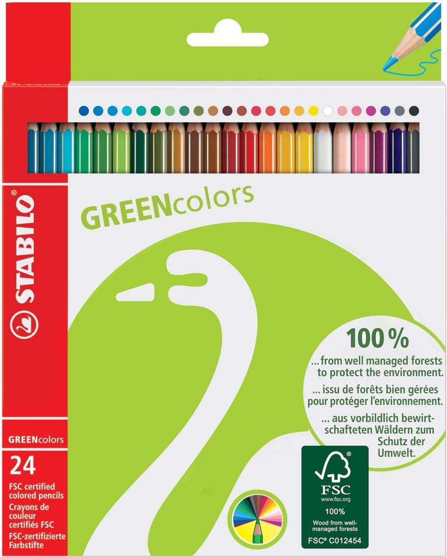 Карандаши цветные STABILO GREENcolors, экологичная серия, 24 цвета  #1