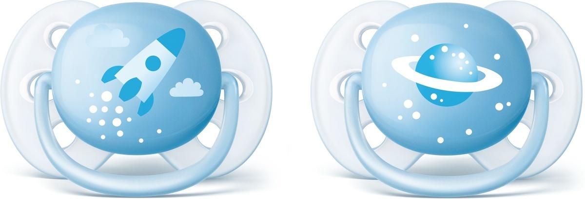 Philips Avent Пустышка силиконовая ортодонтическая Ultra Soft для мальчиков от 0 до 6 месяцев 2 шт SCF222/20 #1