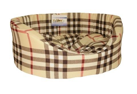Мягкий лежак Лежак для собак с бортиком № 4, шотландка светлая, 64 х 49 х 20 см  #1