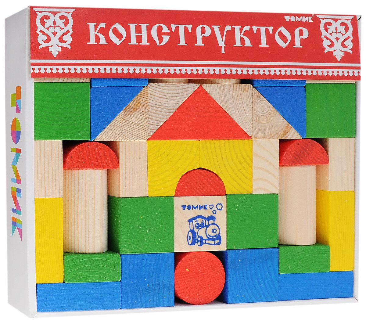 Деревянный конструктор Томик Цветной, игровой набор из 43 деталей  #1