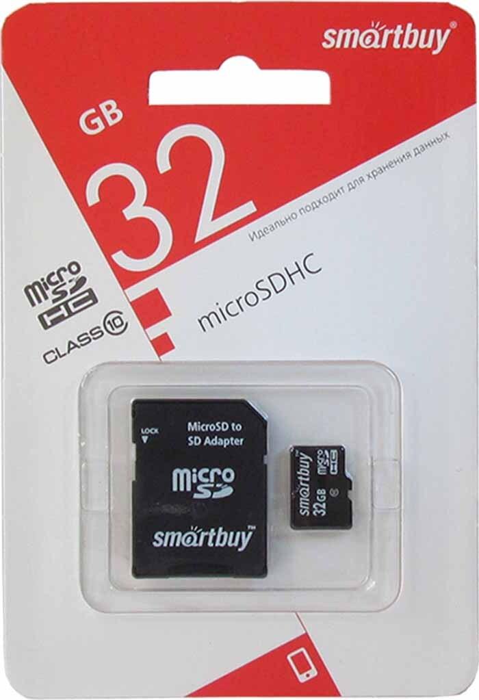Карта памяти SmartBuy microSDHC Class 10 SB32GBSDCL10-01LE 32GB, SD adapter, цвет: черный стоимость