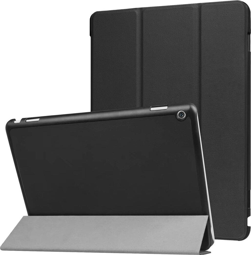 Чехол-обложка MyPads для Huawei MediaPad M3 Lite 10 (BAH-AL00 / W09) тонкий умный кожаный для пластиковой основе с трансформацией в подставку черный mo вентилятора mofi 2 huawei rongyao ping защитный рукав кобуры пластина 8 дюймов jdn w09 al00 вызова tablet пакет рукав темно синий