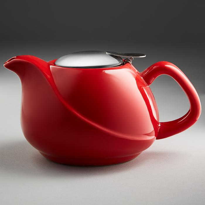 Чайник заварочный Rosario 800 мл с металлическим фильтром красный