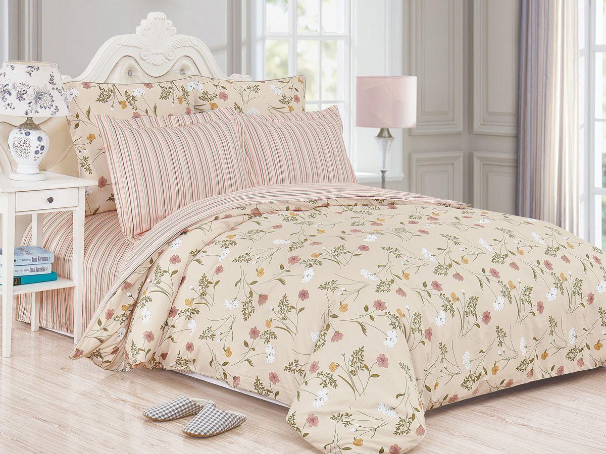 Комплект постельного белья Cleo Satin de' Luxe Амели, 20/519-SK, крем-брюле, 2-спальный, наволочки 70x70