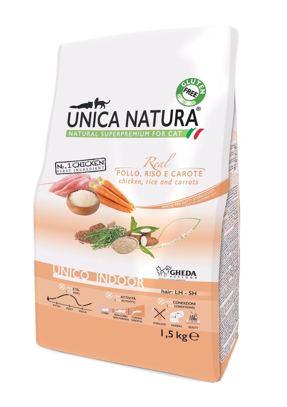 Сухой корм для кошек Unica Natura Unico Indoor - курица, рис, морковь (1,5кг)