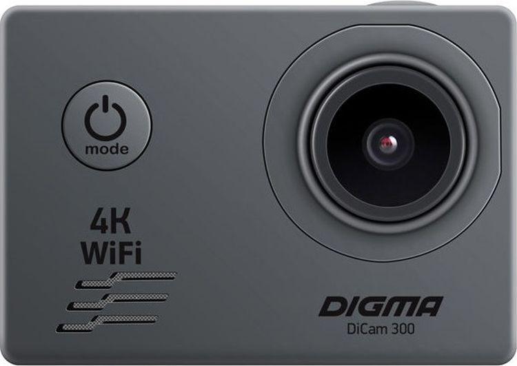 экшн-камера digma экшн-камера digma dicam 300, серый