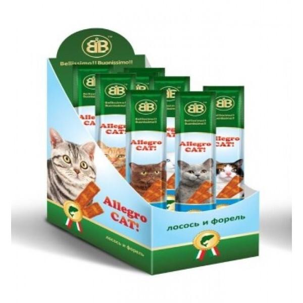 Лакомства для кошек B&b Allegro Cat рыбные колбаски из Лосося и Форели 60шт (Шоу-бокс), 470 гр