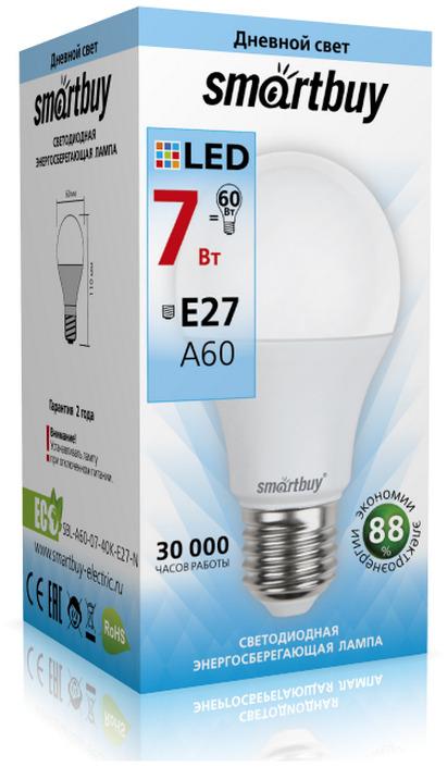 Лампочка SmartBuy SBL-A60-07-40K-E27-N, Дневной свет 7 Вт, Светодиодная