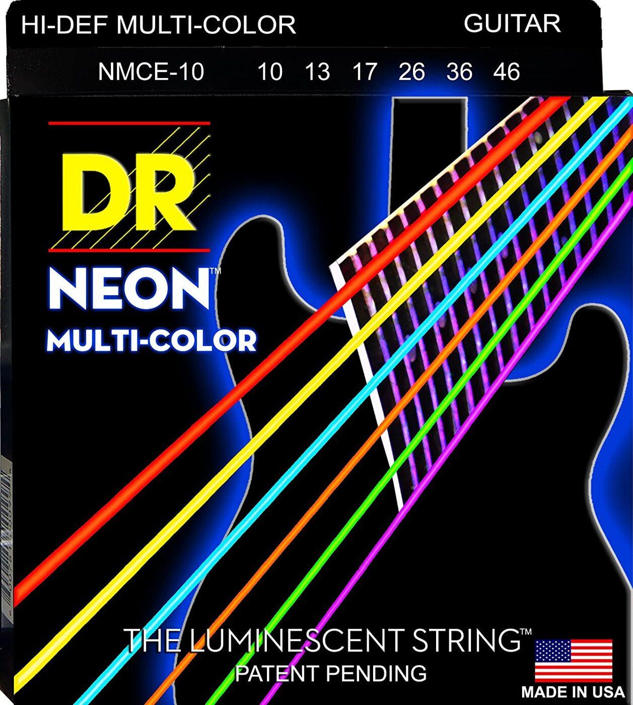 Струны для электрогитары DR Strings NMCE-10 Neon Multi-Color 10-46 (светятся в темноте)